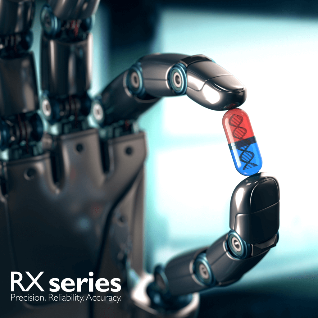 Robot hand holding pill to slow down aging process
