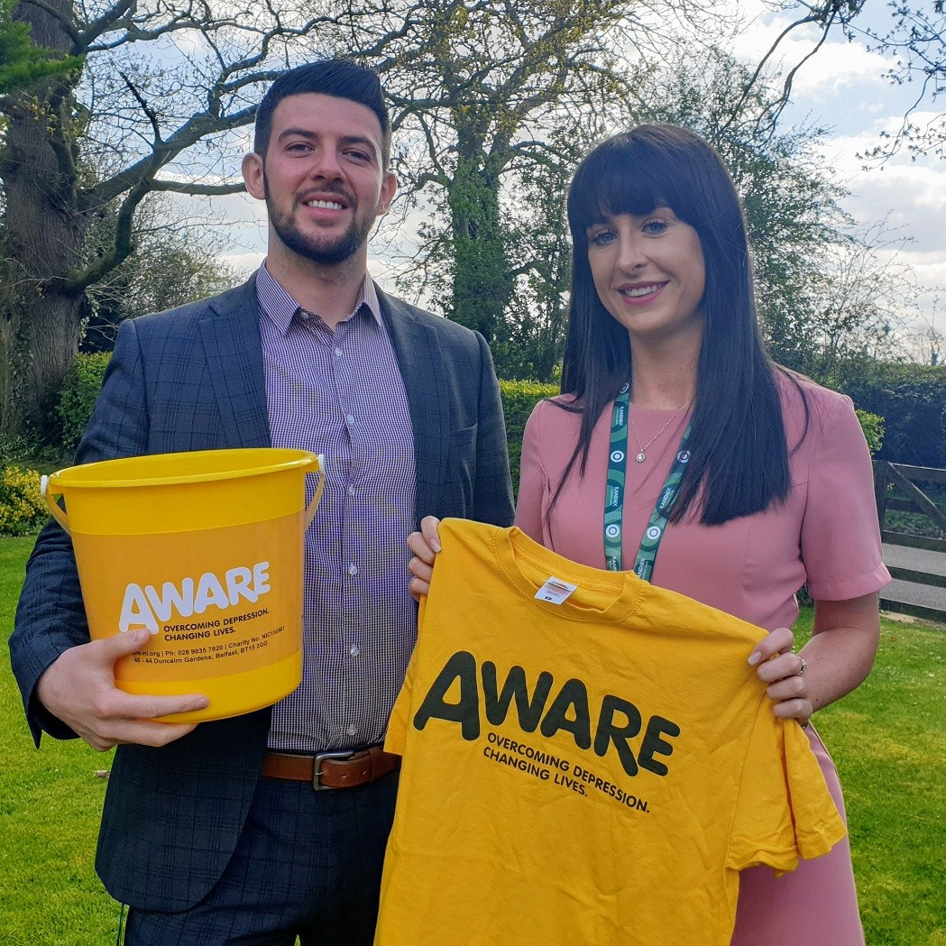 Kenny and Céline are skydiving for AWARE NI